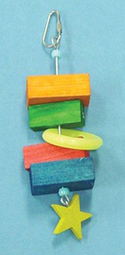 Bird Brainers Toy w/ Wood Blocks and Star 7.5in