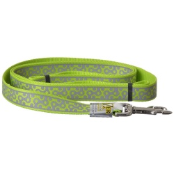 "Lazer Brite Reflective Open-Design Dog Leash - Lime Geometric (6' Long x 1"" Wide)"