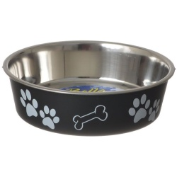 "35756 250x250 - Loving Pets Stainless Steel & Espresso Dish with Rubber Base (Medium - 6.75"" Diameter)"