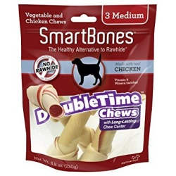 "56124 250x250 - SmartBones DoubleTime Bone Chews for Dogs - Chicken (Medium - 3 Pack - [5"" Long - For Dogs 26-50 lbs])"