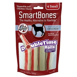"56127 250x250 - SmartBones DoubleTime Roll Chews for Dogs - Chicken (Small - 4 Pack - [5"" Long - For Dogs 11-25 lbs])"
