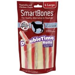 "56130 250x250 - SmartBones DoubleTime Roll Chews for Dogs - Chicken (Large - 4 Pack - [7.5"" Long - For Dogs Over 50 lbs])"
