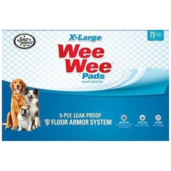 """Four Paws X-Large Wee Wee Pads (75 Pack [28"""" Long x 30"""" Wide])"""