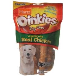 """76914 250x250 - Hartz Oinkies Pig Skin Twists Wrapped with Real Chicken (Regular - 5"""" Long - 8 Pack)"""