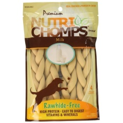Premium Nutri Chomps Milk Flavor Braid Dog Chews - Small (4 count)