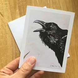"crowcard small 250x250 - ""Yelling Crow"" Greeting Card"
