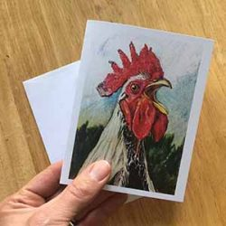 Julio the Crowing Rooster from Country Village, Bothell - Greeting Card