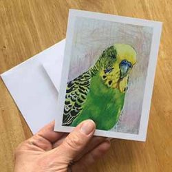 "dean small 250x250 - ""Dean the Budgie"" Greeting Card"