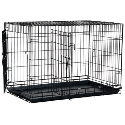 "precision pet great crate folding crate 2 door crate front top doors black model 3000 30l x 195w x 215h for dogs up to 40 lbs 250x250 - Precision Pet Great Crate Folding Crate - 2 Door Crate (Front & Top Doors) Black (Model 3000 (30""L x 19.5""W x 21.5""H) For Dogs up to 40 lbs)"