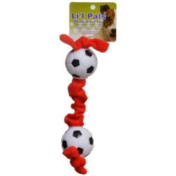 18638 250x250 - Li'l Pals Soccer Ball Plush Tug Dog Toy - Red, Black & White