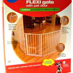 "Carlson Pet Gates Flexi Walk Thru Gate with Pet Door - White (Regular - up to 76"" Wide x 31"" Tall)"