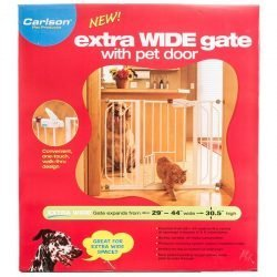 "Carlson Pet Gates Extra Wide Walk Thru Gate Extension with Pet Door (29""-44"" Wide x 30.5"" High)"