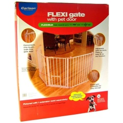 "24245 250x250 - Carlson Pet Gates Flexi Walk Thru Gate with Pet Door - White (X-Tall - up to 76"" Wide x 38"" Tall)"