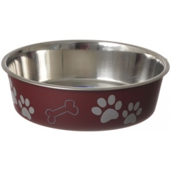 "35771 250x250 - Loving Pets Stainless Steel & Merlot Dish with Rubber Base (Medium - 6.75"" Diameter)"
