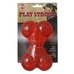 """59419 250x250 - Spot Play Strong Rubber Bone Dog Toy - Red (6.5"""" Long)"""