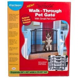"Carlson Weatherproof Outdoor Walk-Thru Gate with Pet Door (29""-43"" Wide x 33.25"" High)"