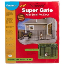 "Carlson Super Gate with Pet Door (144"" Wide x 28"" High - [Includes 6 x 24"" Wide Panels])"