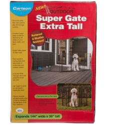 "Carlson Super Gate with Pet Door - Extra Tall (144"" Wide x 36"" High - [Includes 6 x 24"" Wide Panels])"