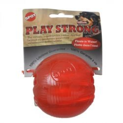 """63449 250x250 - Spot Play Strong Rubber Ball Dog Toy - Red (3.25"""" Diameter)"""