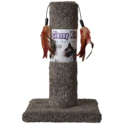 """64504 250x250 - Classy Kitty Cat Scratching Post with Feathers (17.5"""" High [Assorted Colors])"""