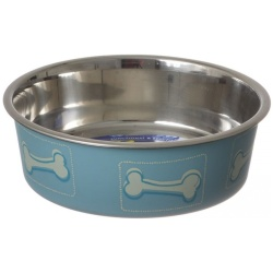 "64752 250x250 - Loving Pets Stainless Steel & Coastal Blue Bella Bowl with Rubber Base (Small - 1.25 Cups [5.5""D x 2""H])"
