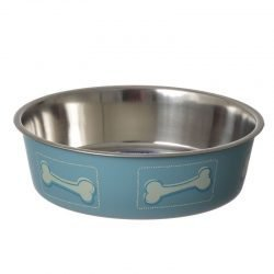"64753 250x250 - Loving Pets Stainless Steel & Coastal Blue Bella Bowl with Rubber Base (Medium - 2.5 Cups [7""D x 2""H])"