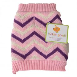 """65363 250x250 - Lookin' Good Chevron Dog Sweater - Pink (X-Small [Dogs 8""""-10"""" Neck to Tail])"""
