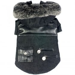 "66846 250x250 - Pet Life Black Denim Choppered Dog Coat (X-Small - [8"" Neck to Tail])"