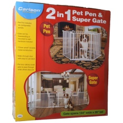 "Carlson 2 in 1 Pet Pen & Super Gate (144"" Wide x 28"" High)"