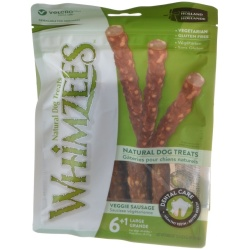 Whimzees Natural Dog Treats - Veggie Sausage Sticks (Large - 7 Pack - [Dogs 40-60 lbs])