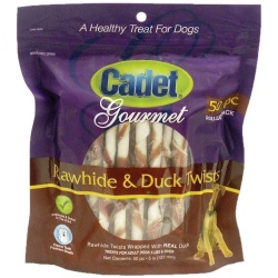 Cadet Premium Gourmet Rawhide and Duck Twists Treats 50 pack