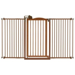 """richell one touch tall and wide pressure mounted pet gate ii brown 321 628 x 2 x 384 250x250 - Richell One-Touch Tall and Wide Pressure Mounted Pet Gate II Brown 32.1"""" - 62.8"""" x 2"""" x 38.4"""""""