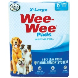 """Four Paws X-Large Wee Wee Pads (6 Pack [28"""" Long x 30"""" Wide])"""