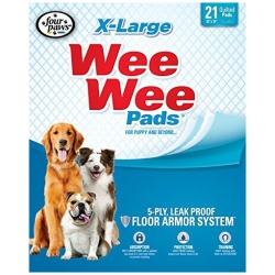 """Four Paws X-Large Wee Wee Pads (21 Pack [28"""" Long x 30"""" Wide])"""