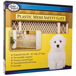 """89 original 250x250 - Four Paws Wood Frame with Plastic Mesh Safety Gate (26""""-42"""" Wide x 24"""" High)"""