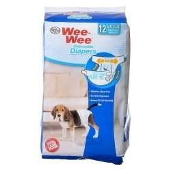 """Four Paws Wee Wee Diapers for Dogs (12 Pack - Medium [Dogs 15-35 lbs with 18""""-25"""" Waist])"""