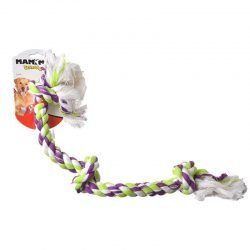 "Flossy Chews Colored 3 Knot Tug Rope (Large - 25"" Long)"