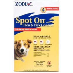47585 250x250 - Zodiac Spot on Flea & Tick Controller for Dogs (Small Dogs 16-30 lbs [4 Pack])