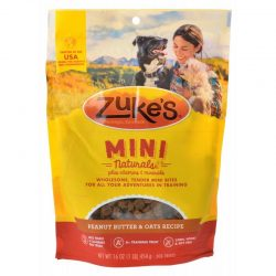 47657 250x250 - Zukes Mini Naturals Dog Treats - Peanut Butter & Oats Recipe (1 lb)