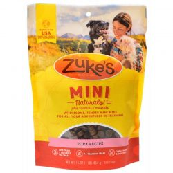 52738 250x250 - Zuke's Mini Naturals Moist Dog Treats - Roasted Pork Recipe (1 lb)