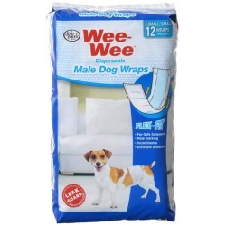 """Four Paws Wee Wee Disposable Male Dog Wraps (X-Small/Small - 12 Pack - [Fits Waists up to 15""""])"""