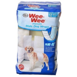 """Four Paws Wee Wee Disposable Male Dog Wraps (Medium/Large - 12 Pack - [Fits Waists 15""""-29.5""""])"""